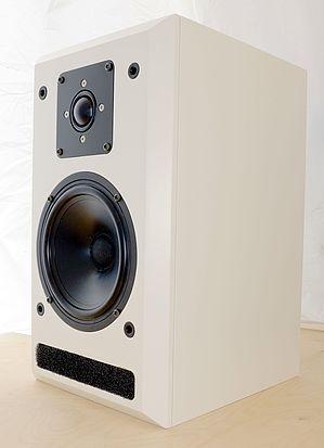 Eine 40 cm hohe und 22,5 cm breite Zweiwegebox in weiß